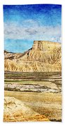Bardenas Desert Panorama 3 - Vintage Version Bath Towel