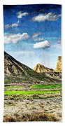 Bardenas Desert Panorama 4 - Vintage Version Bath Towel