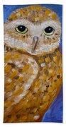 Barn Owl- Impressionism- Owl By Night Bath Towel