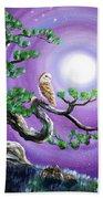 Barn Owl In Twisted Pine Tree Bath Towel