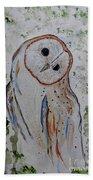 Barn Own Impressionistic Painting Bath Towel