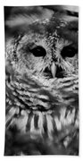 Barred Owl In Black And White Bath Towel