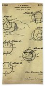 Baseball Training Device Patent 1961 Sepia Bath Towel