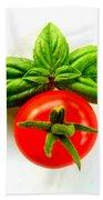 Basil And Cherry Tomato Bath Towel