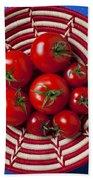 Basket Full Of Red Tomatoes  Bath Towel