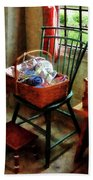 Basket Of Cloth And Yarn On Chair Bath Towel