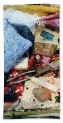 Basket Of Sewing Supplies Bath Towel