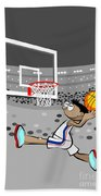 Basketball Player Jumping And Flying To Shoot The Ball In The Hoop Hand Towel