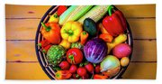 Basketful Of Fresh Vegetables Bath Towel