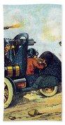 Battle Cars, 1900s French Postcard Bath Towel