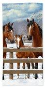 Bay Appaloosa Horses In Snow Bath Towel by Crista Forest