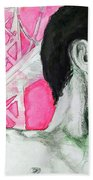 Bay Bridge Anf Figure In Red Hand Towel by Rene Capone