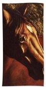 Bay Horse Art Horse Portrait Circe At Sunset Bath Towel