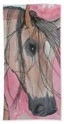Bay Horse Watercolor Bath Towel