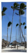 Beach Cabanas And Palm Trees Bath Towel