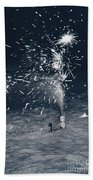 Beach Fire Works Bath Towel
