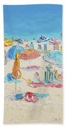 Beach Painting - Crowded Beach Bath Towel