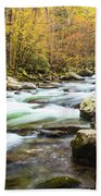 Beautiful Autumn Colors Little Pigeon River Smoky Mountains Bath Towel