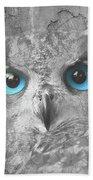 Beautiful Blue-eyed Owl Bath Towel