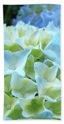 Beautiful Blue Hydrangea Floral Art Prints Creamy White Pastel Bath Towel