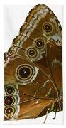 Beautiful Butterfly Wings Of Meadow Brown Isolated Bath Towel
