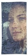 Beautiful Sad Woman In The Car Bath Towel