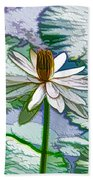 Beautiful White Water Lilies Flower Bath Towel