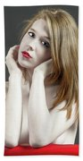 Beautiful White Woman On Red Chair Hand Towel
