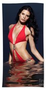 Beautiful Young Woman In Red Swimsuit Standing In Water Bath Towel