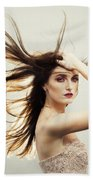 Beautiful Young Woman With Windswept Hair Hand Towel
