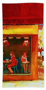 Beautys Cafe With Red Awning Bath Towel
