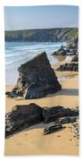 Bedruthan Steps, Cornwall Bath Towel