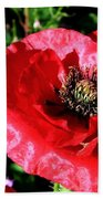 Bee And Red Poppy Bath Towel