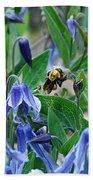 Bee Buzzing Through Blue Beauty Bath Towel