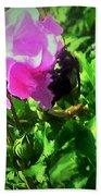 Bee Climbing Into Flower Bath Towel