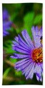 Bee On Lavender Flower Bath Towel