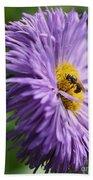Bee On Purple Daisy Bath Towel