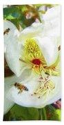 Bees On Open Magnolia Bath Towel