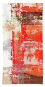 Behind The Corner - Warm Linear Abstract Painting Bath Towel