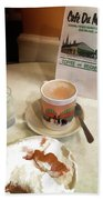 Beignet And Coffee At Cafe Du Monde Bath Towel