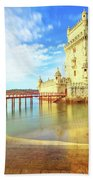 Belem Tower Reflects Bath Towel