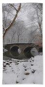 Bells Mill Bridge On A Snowy Day Bath Towel