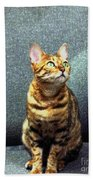 Bengal Cat Oil Pastel  Bath Towel