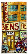 Ben's Famous Smoked Meat Montreal Memories Canadian Paintings Hockey Scenes And Landmarks  C Spandau Bath Towel