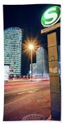 Berlin - Potsdamer Platz Square At Night Bath Towel
