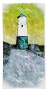 Berwick Lighthouse As Graphic Art. Hand Towel