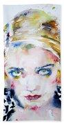 Bette Davis - Watercolor Portrait Bath Towel