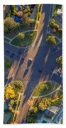 Beverly Hills Streets, Aerial View Bath Towel