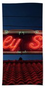 Beverly Shores Indiana Depot Neon Sign Panorama Bath Towel