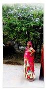 Bff Best Friends Pregnant Women Portrait Village Indian Rajasthani 1 Bath Towel